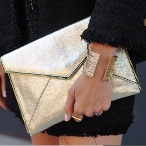 Rebecca Minkoff Leo Metallic Leather Envelope Bag
